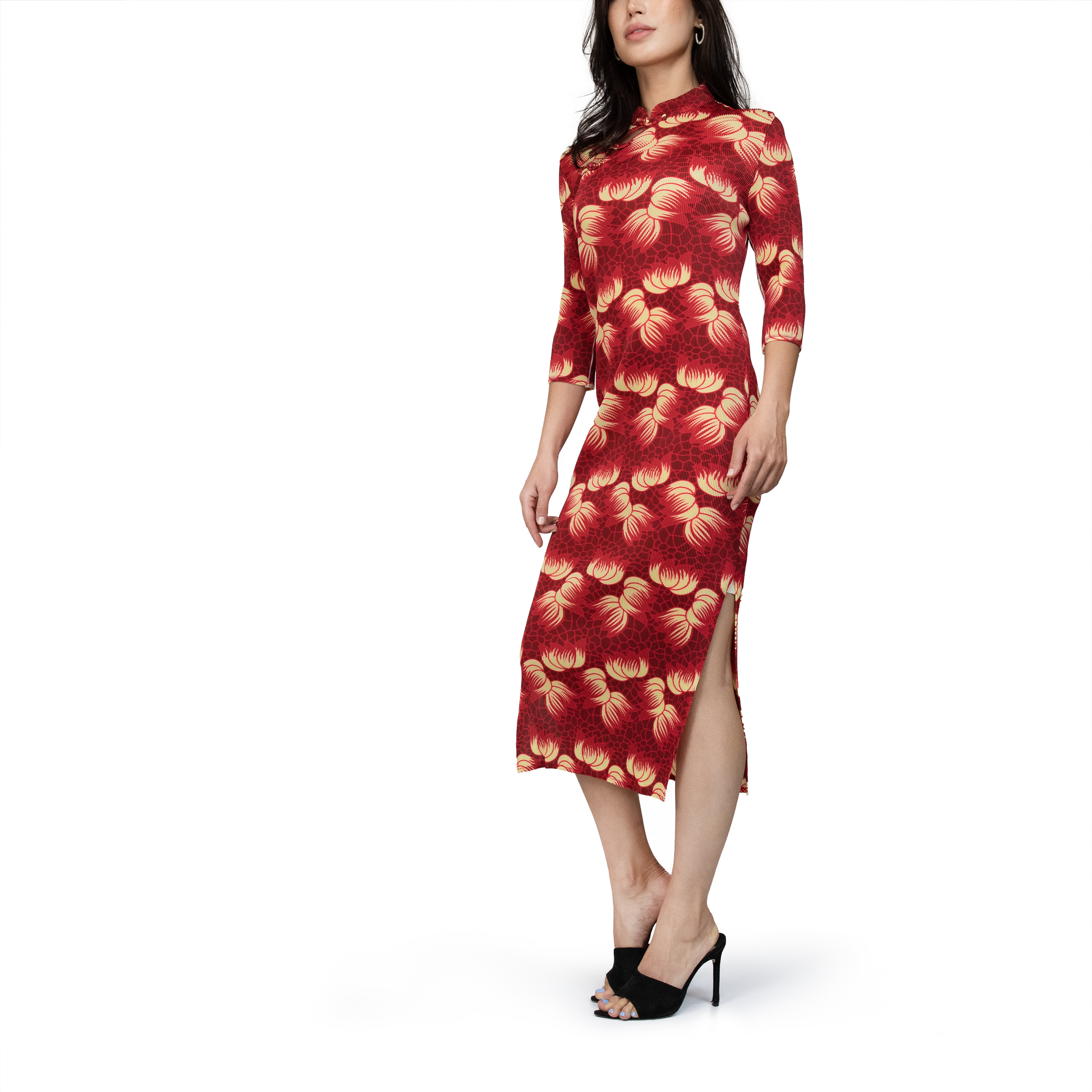 Floral printed frog-button midi dress