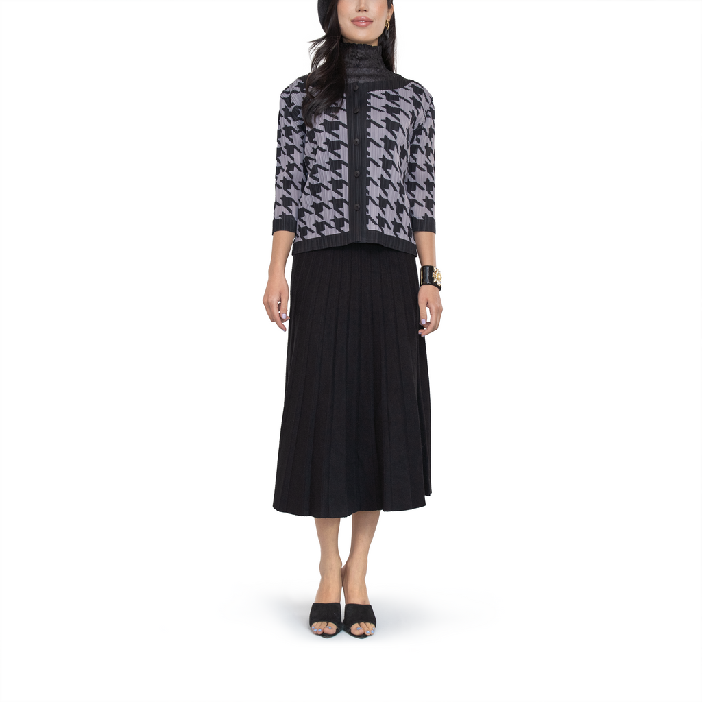 Houndstooth pleated round neck cardigan