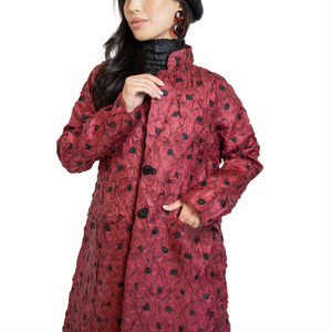 Textured floral embroidery coat