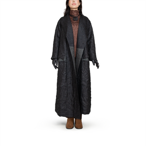 Crinkle textured oversize coat