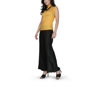Pleated high-neck basic top