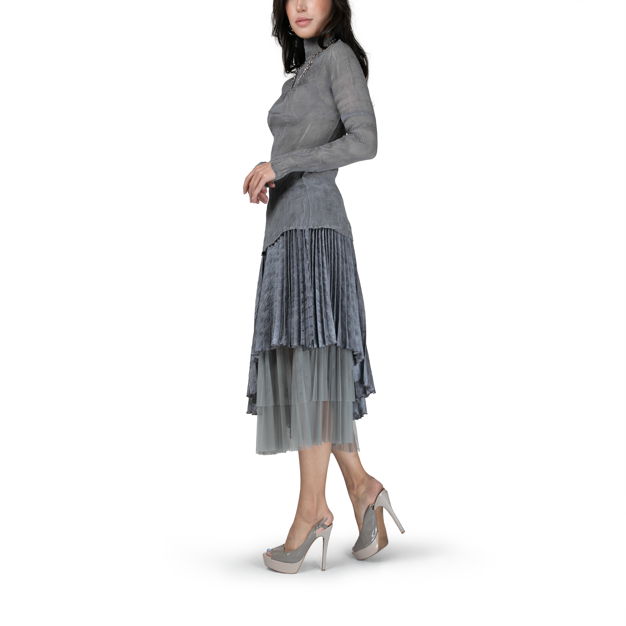 Pleated asymmetric layered midi skirt