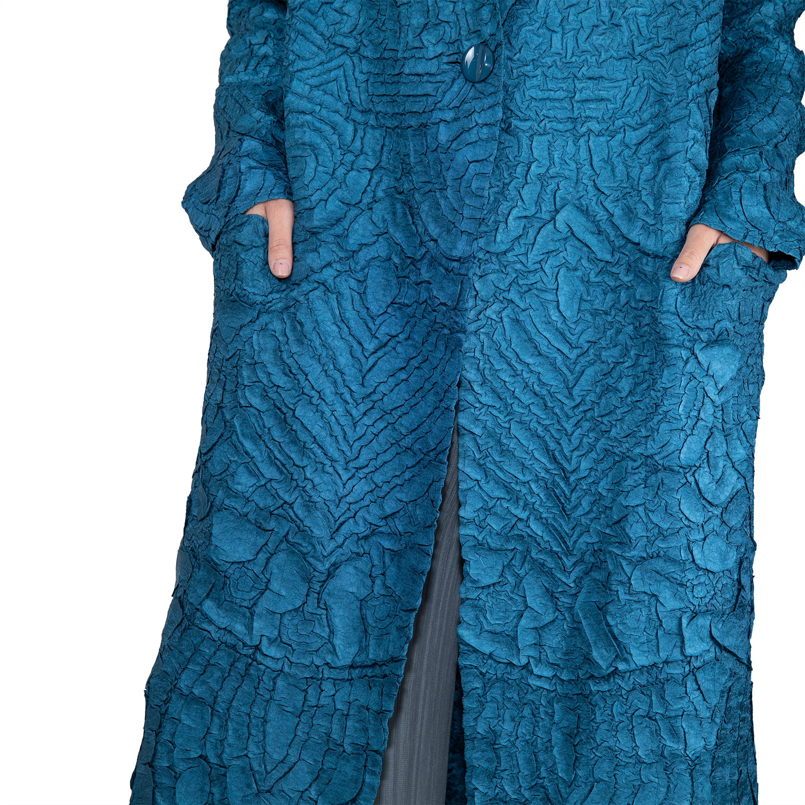 Crinkle textured button-open coat