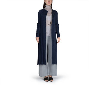 Plissé front-open frog button coat