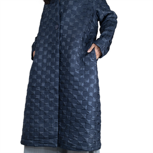 Textured checkerboard pattern over-size midi coat