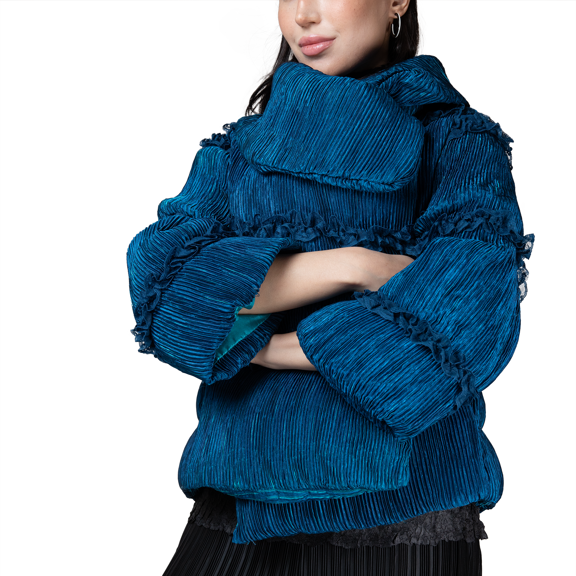 Pleated short warm puff jacket