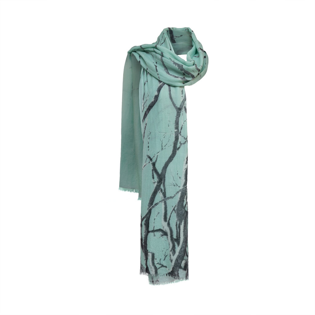 Trees painting printed wool scarf