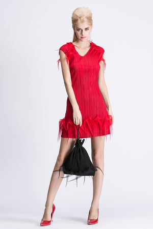Short Feathered V Neck Detailed Evening Dress