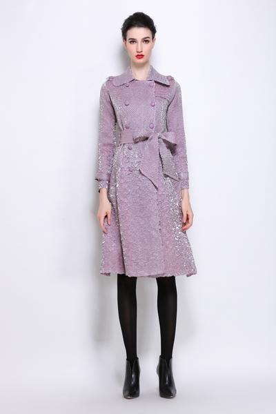 Scrunch pleat trench coat with belt