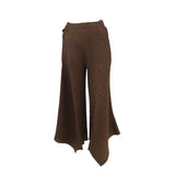 Crop leg pleated pant