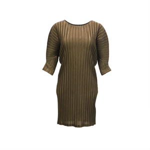 Crown neck half sleeve pleated dress