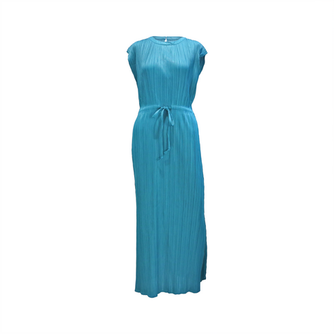 Crown neck pleated dress with drawstring