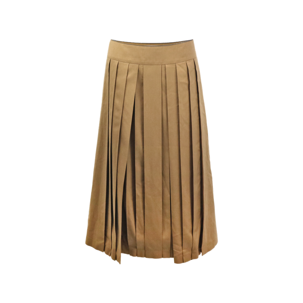 Cotton twill pleated skirt