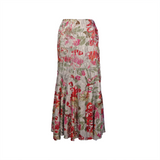 Pleated floral printed long skirt