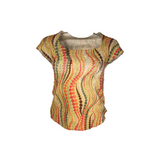 Printed low neck pleated top