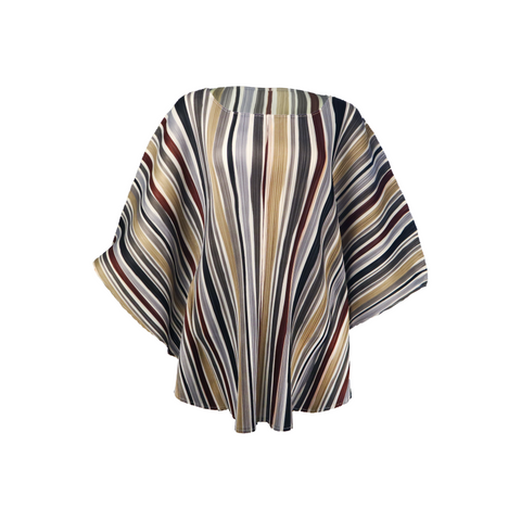 Poncho style strip pleated blouse