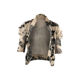 Gigot puff sleeve front open floral printed jacket