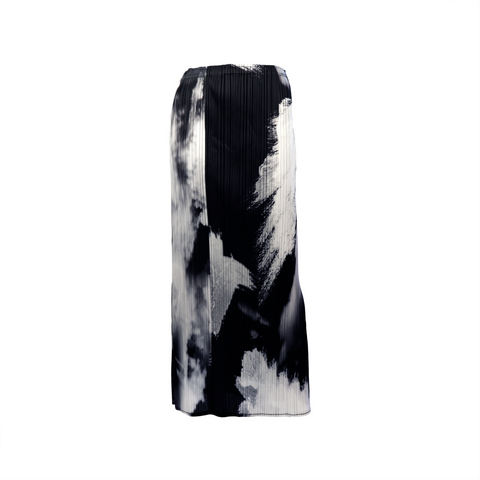 Brush stroke printed pleated long skirt