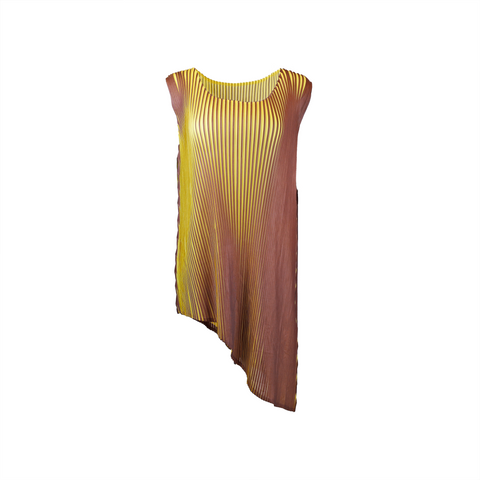 Asymmetrical cut pleated sleeveless top