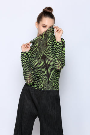 Long sleeve Origami top with vertical Pattern