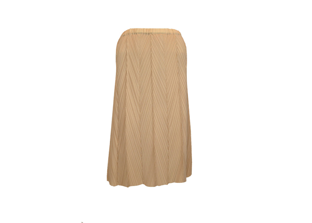 Beige Various Pleats Skirts