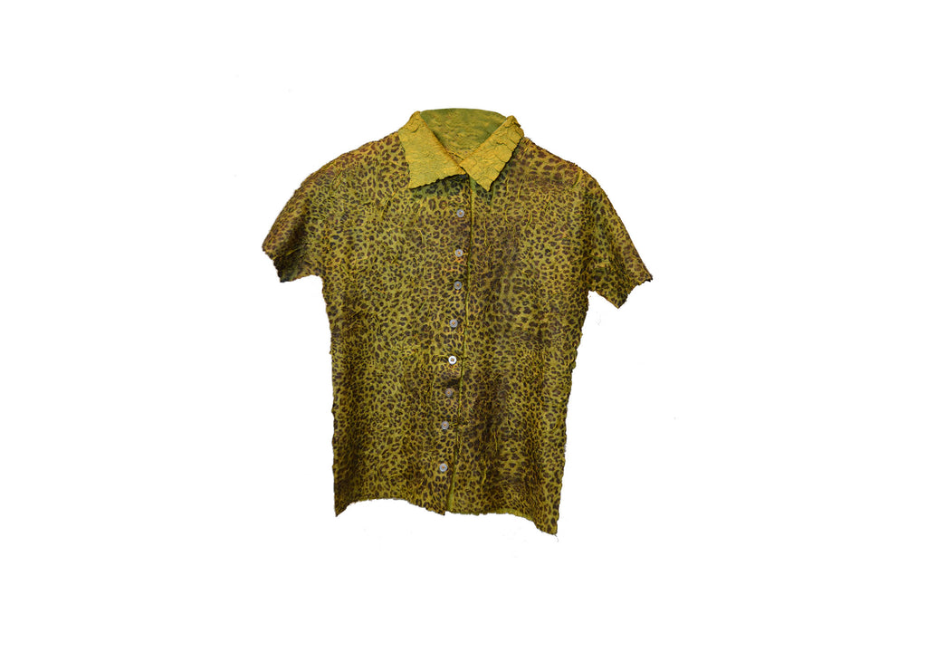 The green leopard button down
