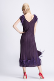 Long Feathered V Neck Detailed Evening Dress