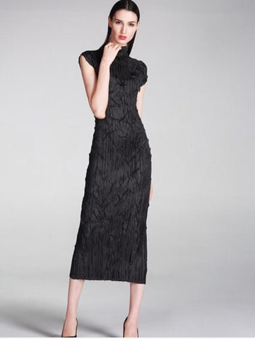 Black Textured Long Dress