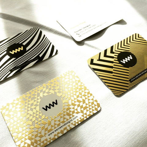 Wenwen designs business card design gold foil from moo weve been getting a lot of good feedback and question on where our business card is printed yap its from moo we couldnt wait to try the new gold reheart Images
