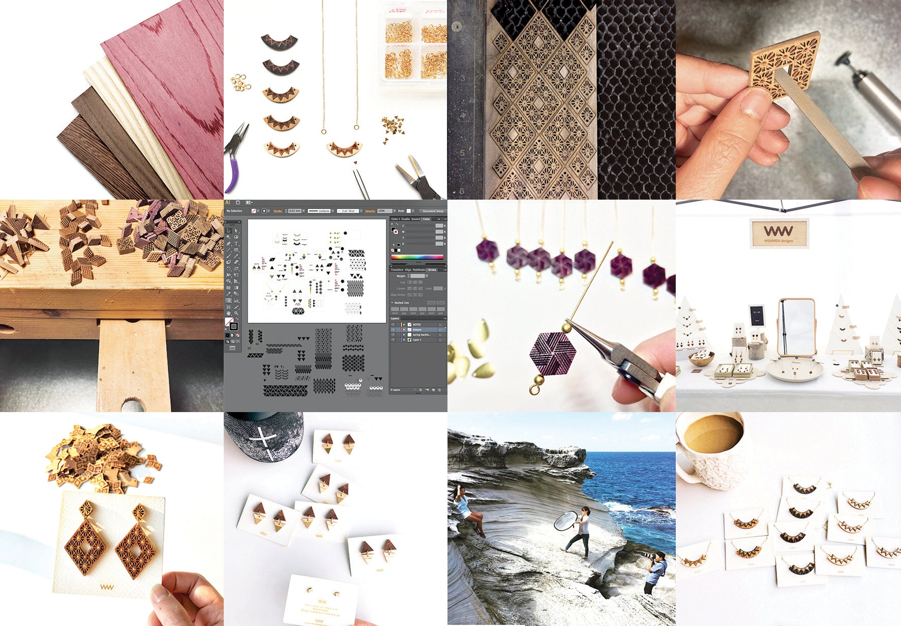 about WENWEN designs | Jewelry inspired by graphics. Made by hand