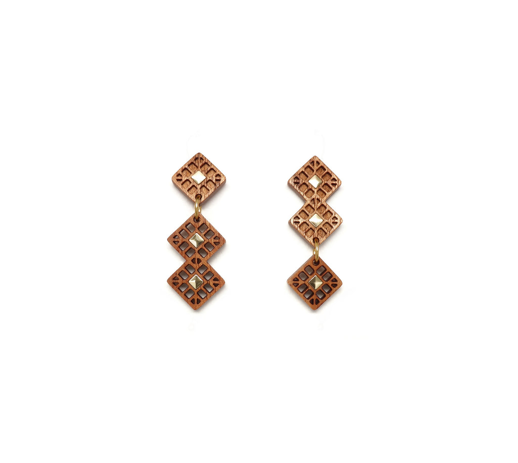 Asymmetrical square post earrings - WENWEN designs