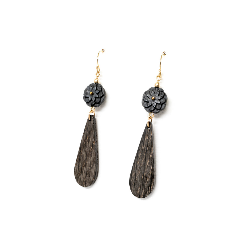 Fleur Earrings [Vinegar Dyed Walnut & Oak]