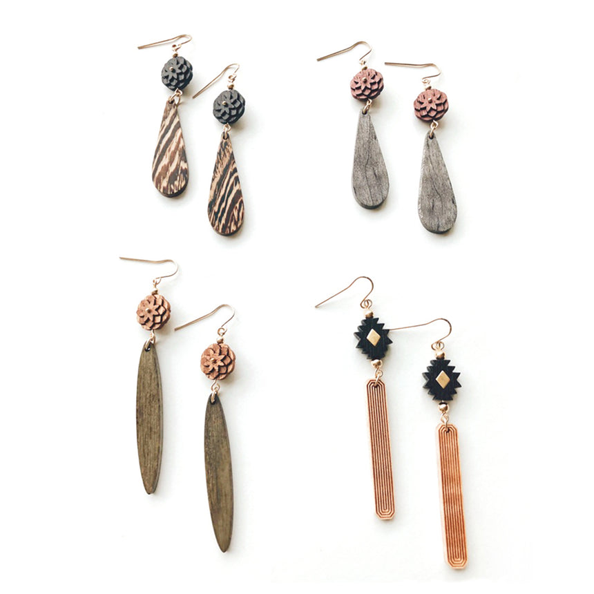 Fleur Earrings [Vinegar Dyed Walnut & Bleached Wenge]