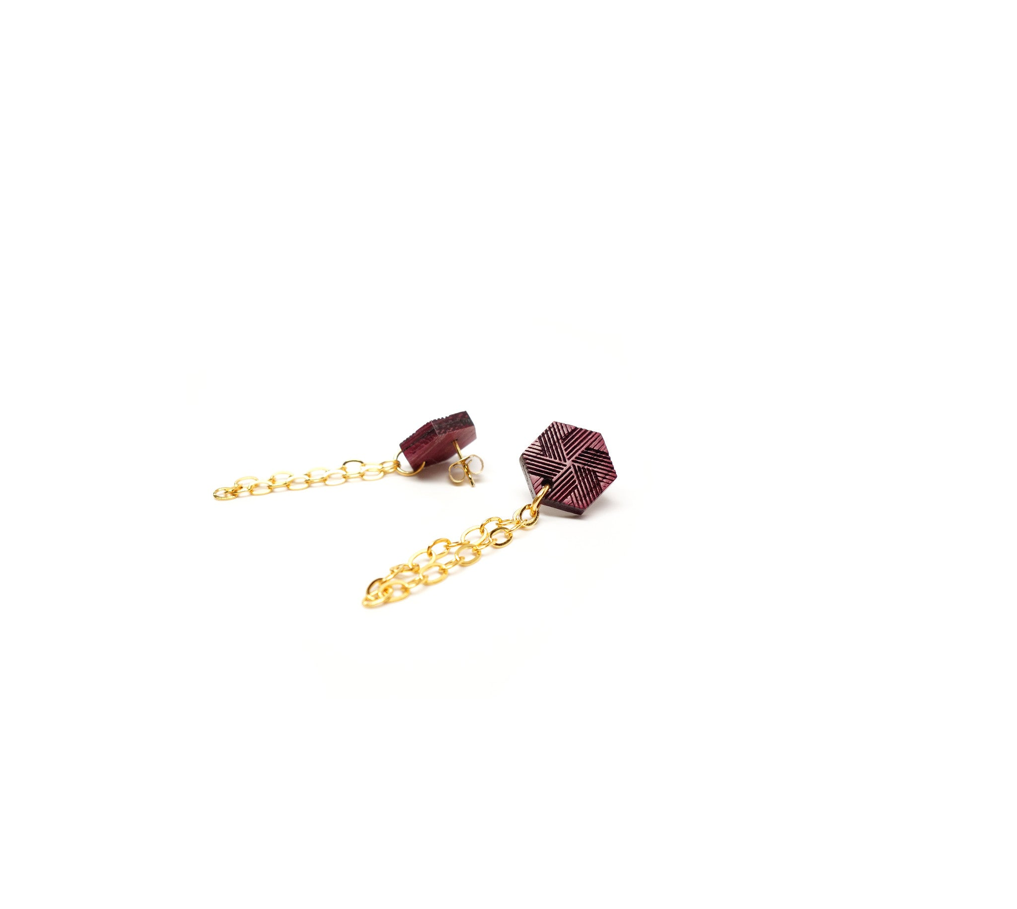 Hexagon & chain post earring - WENWEN designs