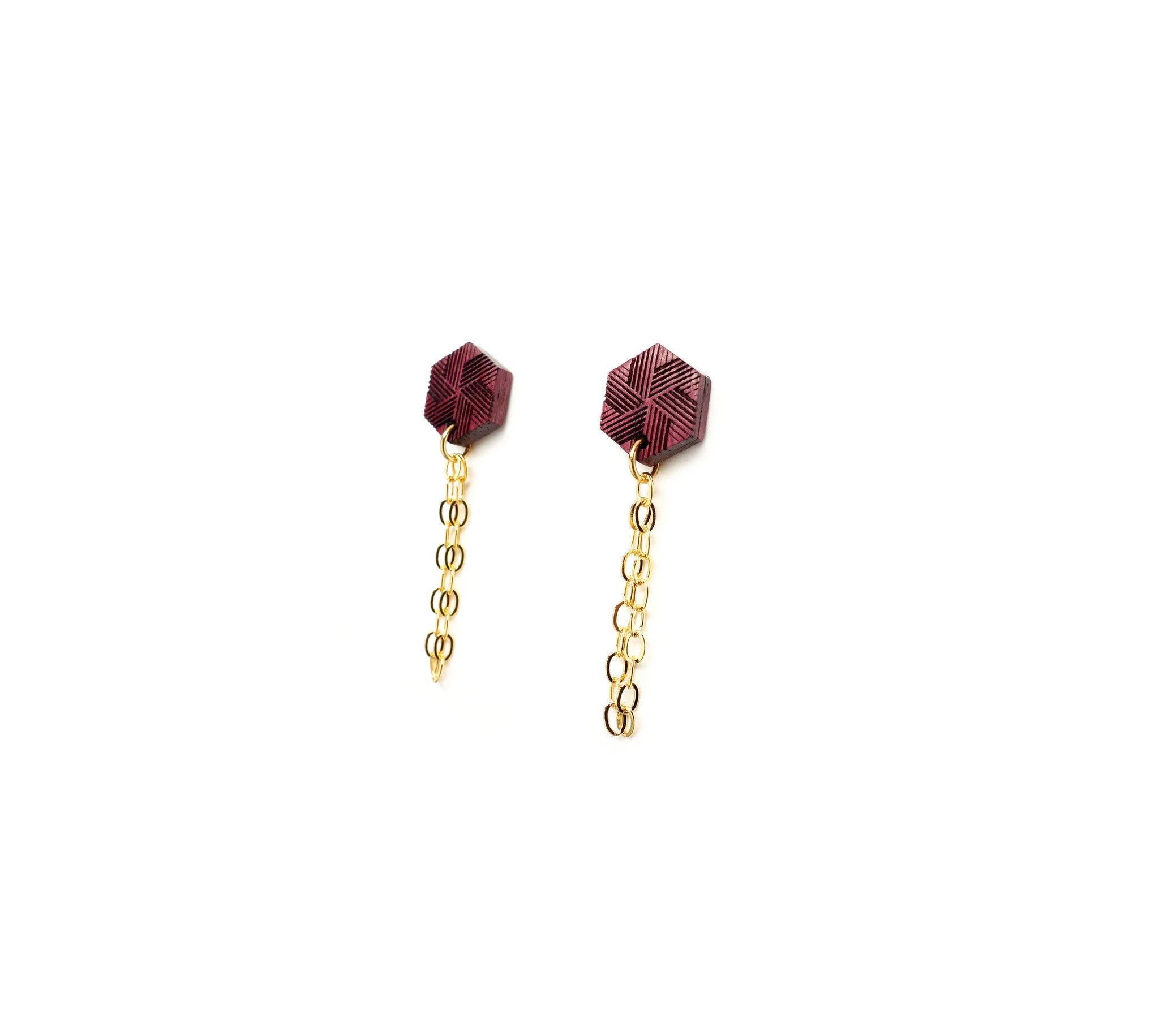 Hexagon & Chain Stud Earrings - WENWEN designs