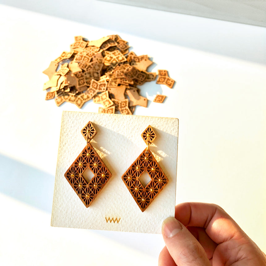 Lattice Inverse Earrings [Walnut]