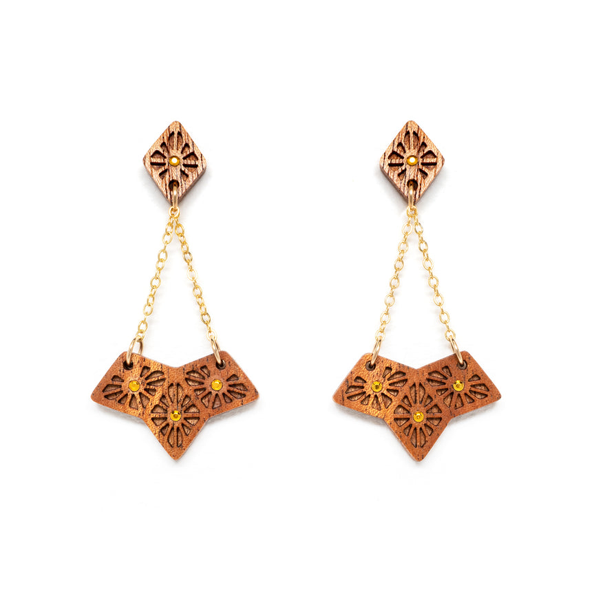 Lattice Fan Earrings [Mahogany]