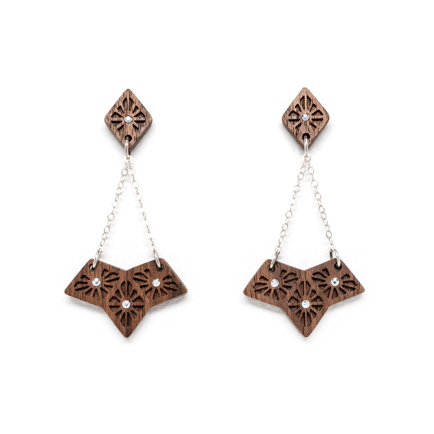 Lattice Fan Earrings [Walnut]