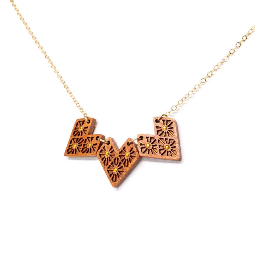Lattice Heart Necklace [Mahogany]