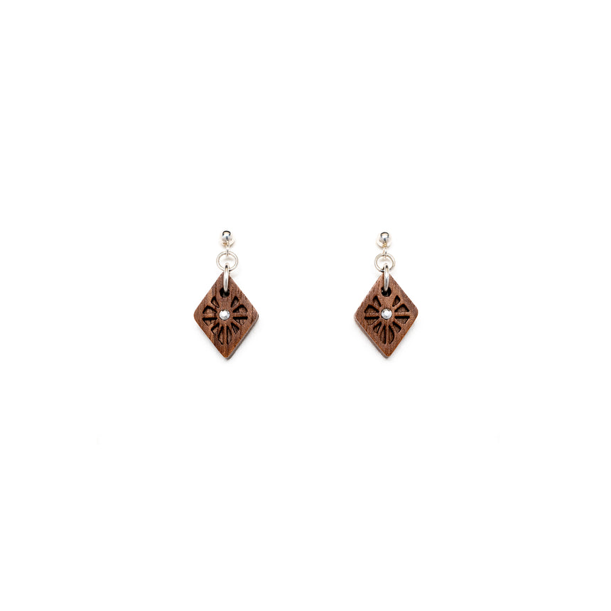 Lattice Ball Post Earrings [Walnut]