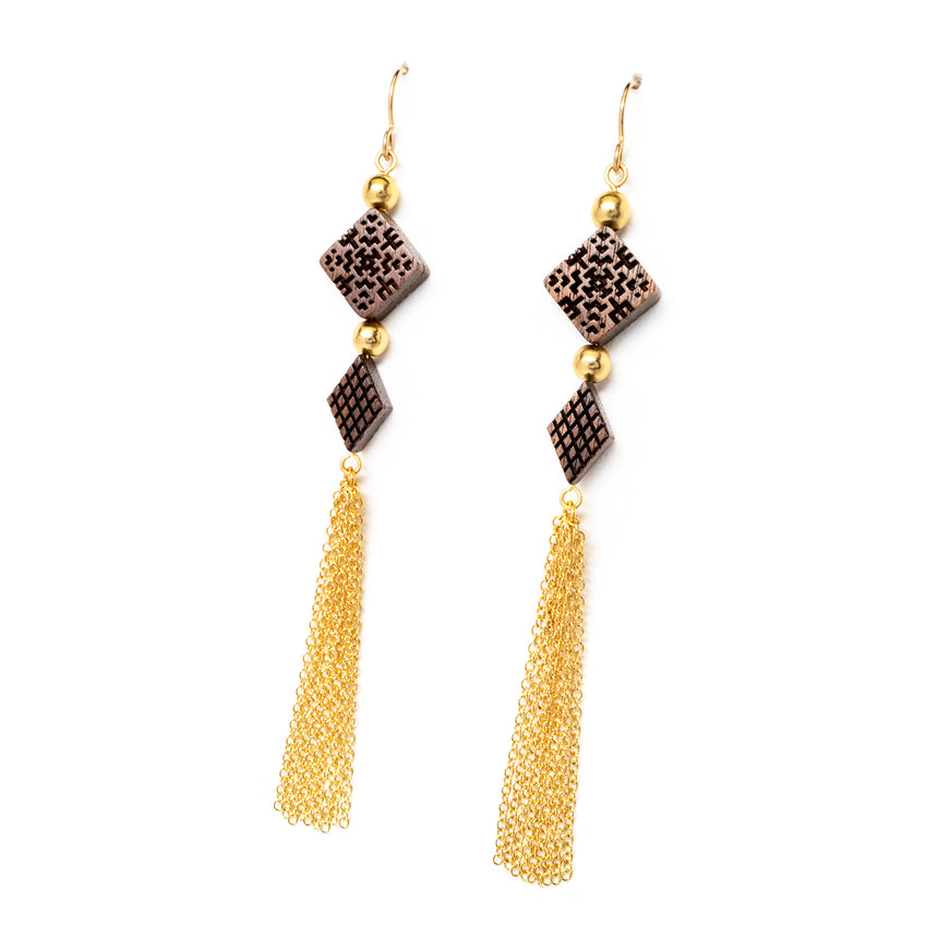 Square & Diamond Beaded Tassel Earrings