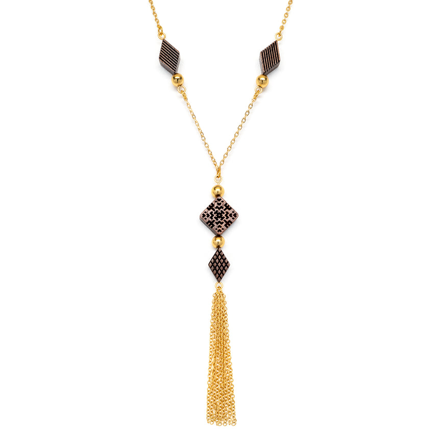 Square & Diamond Beaded Tassel Necklace