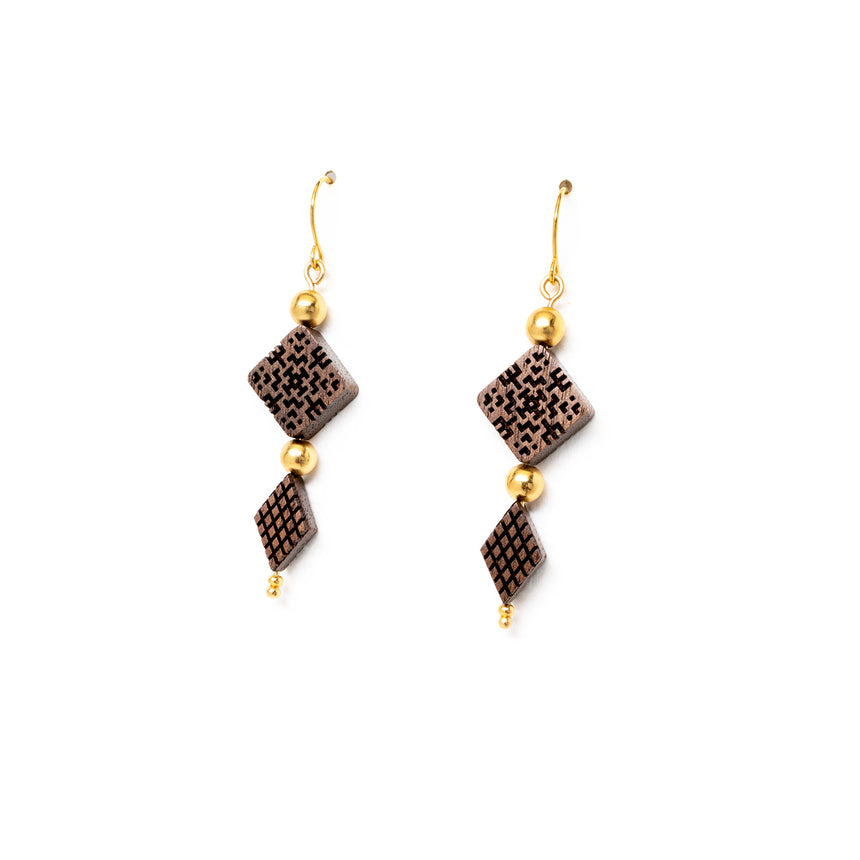 Square & Diamond Shaped Beaded Earrings