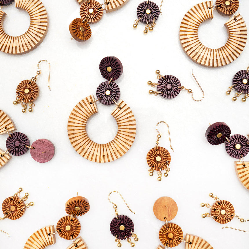 Woven Trio Drops Earrings [Purpleheart]