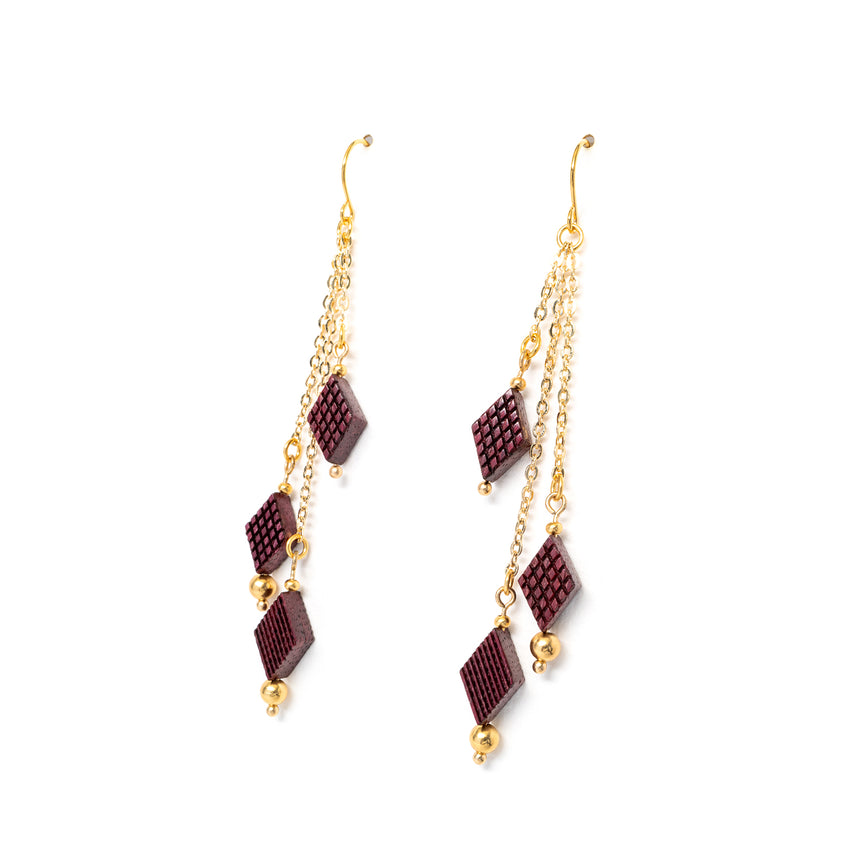 Diamond Shaped Fringe Earrings [Purpleheart]