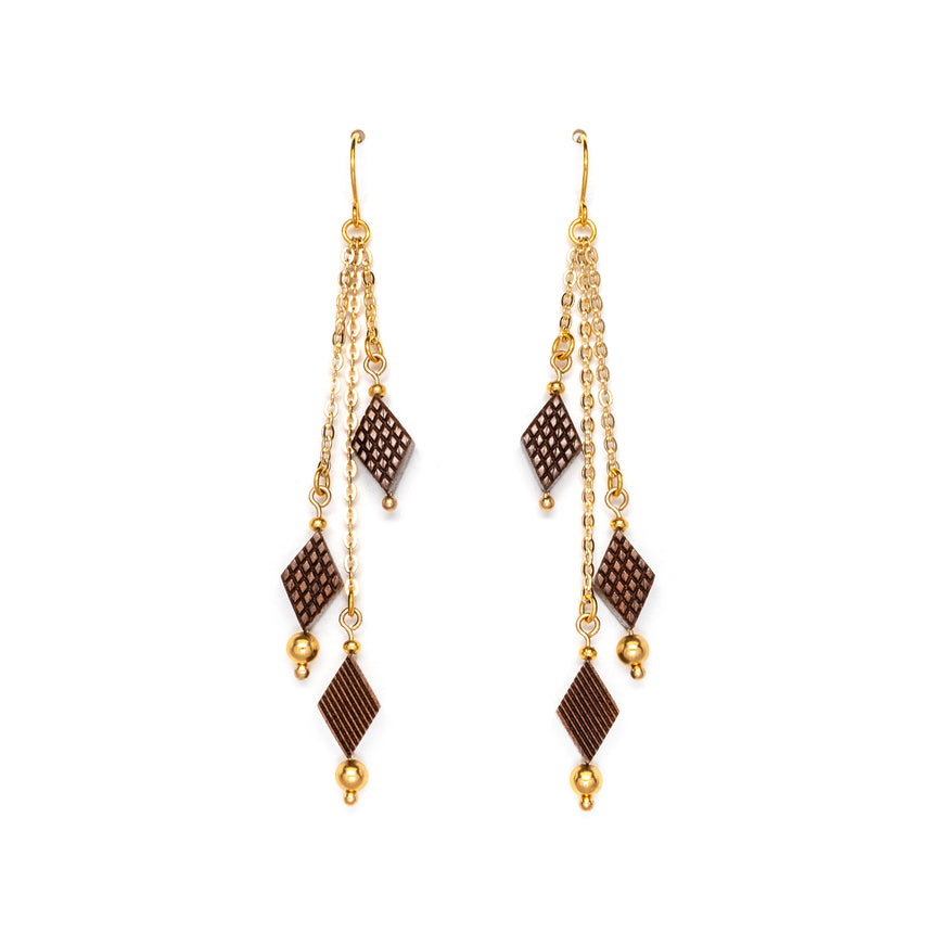 Diamond Shaped Fringe Earrings [Walnut]