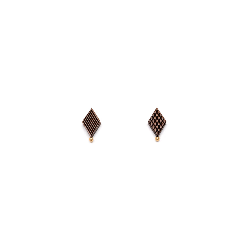 Diamond Shaped Studs [Walnut]