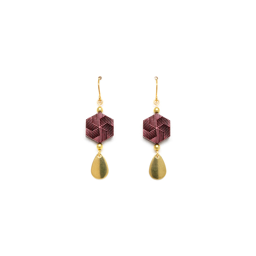 Hexagon & Teardrop Earrings