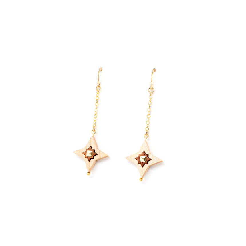 Star Drop Earrings [Curly Maple]
