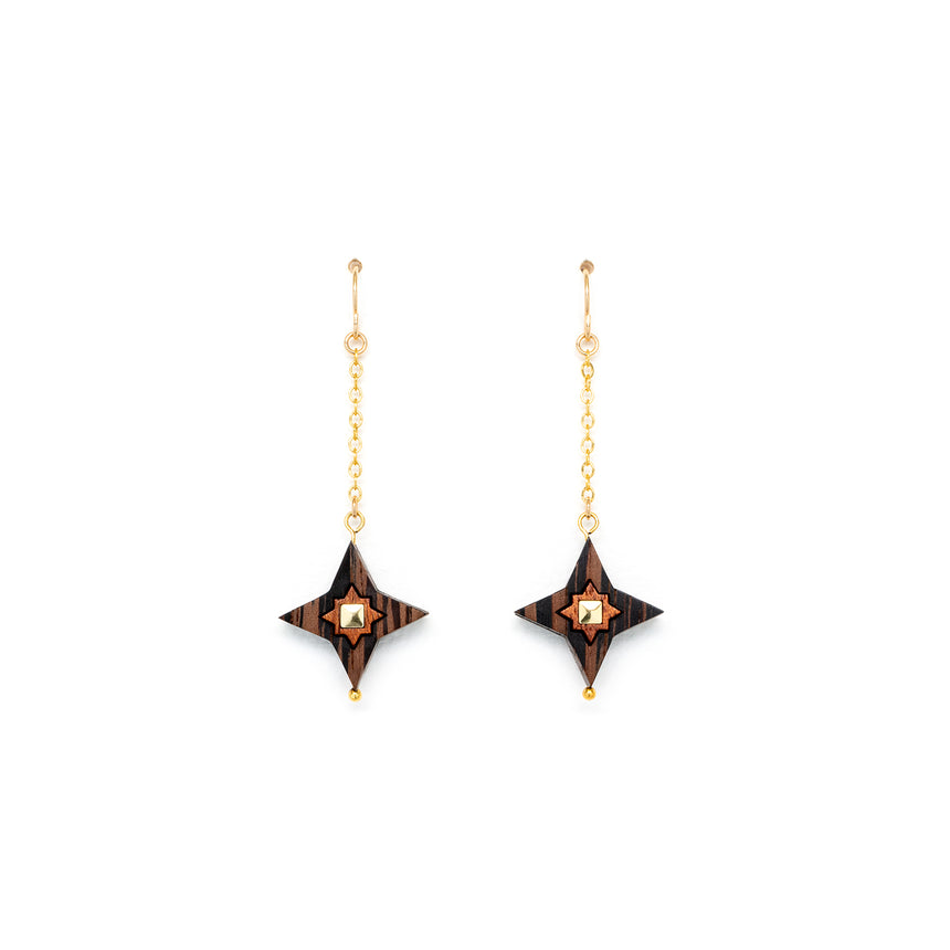 Star Drop Earrings [Wenge]